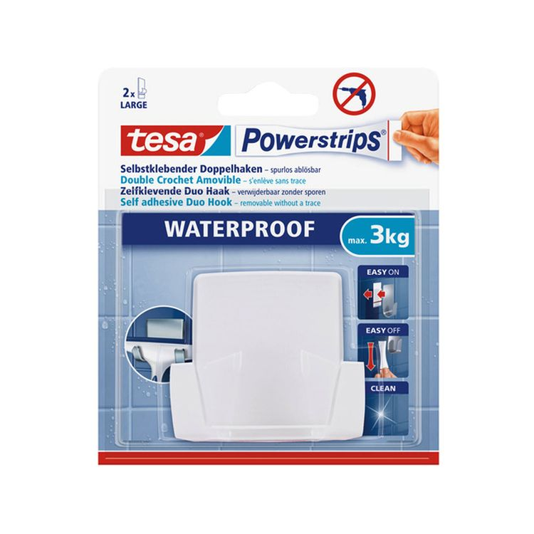 Gancho-Autoadhesivo-Tesa-Powerstrips-Waterproof-Blanco-Gra