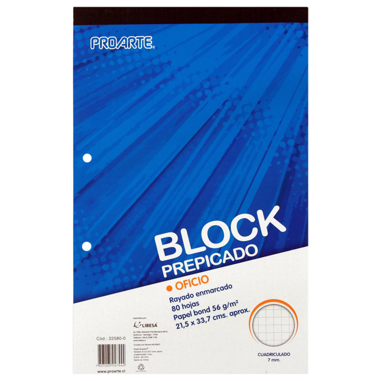 Block prepicado Proarte tamaño oficio, 80 hojas, 7 mm - Jumbo